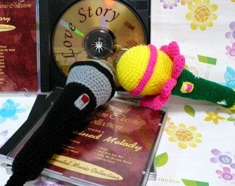 Toy Crochet Pattern Amigurumi Crochet Microphone Crochet Pattern PDF Instant Download Microphones (Regular Style and Flower Style)