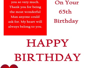 One I Love 65 Birthday Card with removable laminate