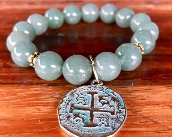 Green aventurine gemstone stretch yoga bracelet with tibetan bronze spacers and patina medallion