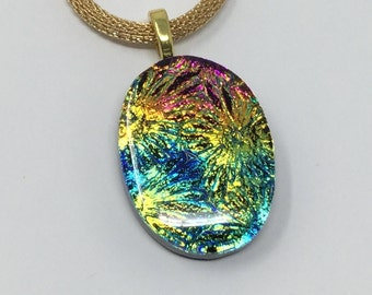 Dichroic Glass Pendant, Fused Glass Jewelry, Blue Gold Magenta Starburst Dichroic Necklace
