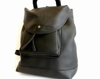 Black laptop backpack, Black vegan leather backpack, Large backpack, Vegan laptop bag, Backpack women , Faux leather rucksack