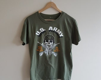 vintage tshirt ARMY shirt distressed 1980s oversized boyfriend t-shirt green qaHfycb