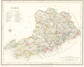 County Cork Ireland - 1837 - Antique Irish Map - FREE WORLDWIDE SHIPPING
