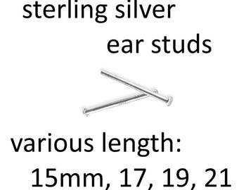 20 pcs Sterling Silver ear studs  925 earing 15mm / 17mm / 19mm / 21mm posts  for 4-10mm beads ear stud jewelry diy findings