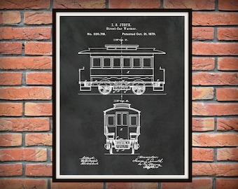 Patent 1879 Streetcar Patent - Trolley Patent - Railway Patent - Poster - Art Print - Wall Art - Transportation - San Francisco Street Car