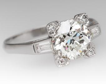 1930's Diamond Engagement Ring - Antique 1.6 Carat Old European Cut Diamond Platinum Ring WM11822