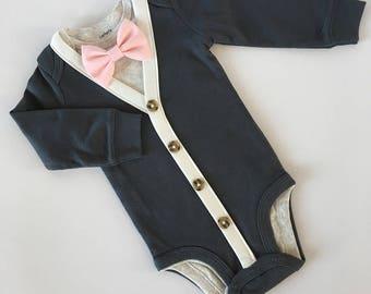 Charcoal Grey/ Ivory Long Sleeve Baby Boy 3pc Cardigan Bodysuit & Bow Tie Set