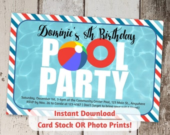 Pool Party Invitation for Boys or Girls - Printable Digital File Instant Download - Photo Prints or Card Stock - Indoor / Winter Pool
