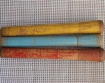 3 Colored Wood Spools, Colored Wooden String Spools, Sewing FREE Domestic Shipping