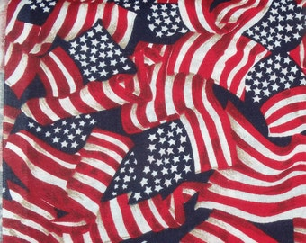 "Star Spangled Red White & Blue American Flags, 44-45"" Wide Cotton Fabric, Made in U.S.A. - By the Half Yard"
