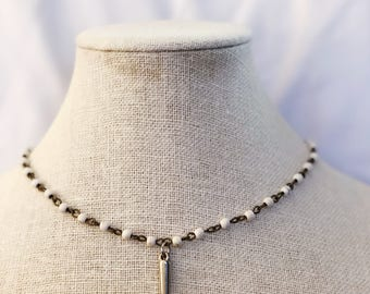 Falling For You • necklace choker • rosary white silver • silver spike pendant • edgy • gifts for mom sister daughter friend graduation