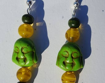 Green Buddha earrings