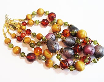 Vintage Costume Purple, Green & Brown Chunky Necklace
