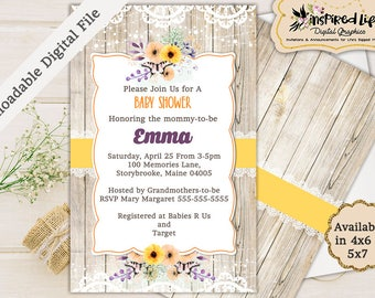 Custom Made Gender Neutral Baby Shower Invitation/ Custom Rustic Baby Shower Invitation/  Baby Shower Invite/ Rustic Baby Shower Printable