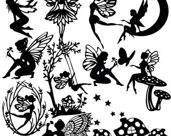 Die Cut Out Fairy Silhouette - FAIRIES, topper x 13 + stars. Great for card making, scrapbooking, fairy jar, embellishments, party favours
