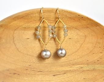 Silver Pearl and Labradorite Earrings, Marquis Shape, Gold Earrings, Platinum Gray Pearl Earrings, Gray Stone Earrings, Pearl Earrings, Leaf