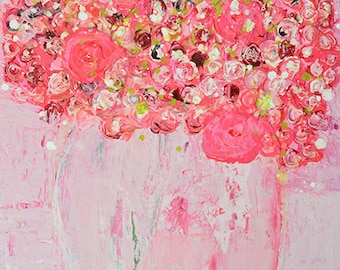Pink Cottage Chic Flower Painting Print. Dining Room Floral Art Decor Digital Print. Romantic Gift for Her. 259