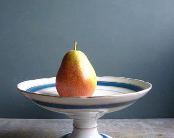 a vintage French porcelain compotier, pedestal plate, fruit plate,serving plate, blue, gold