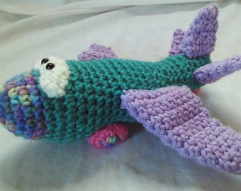 Crochet airplane toy - teal and purple