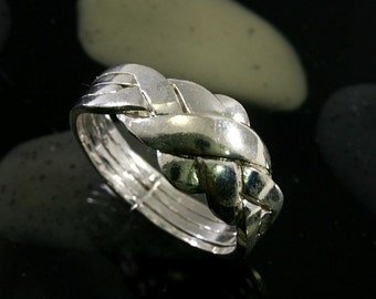 Puzzle Ring 925 Sterling Silver 4 tapes, heavy duty