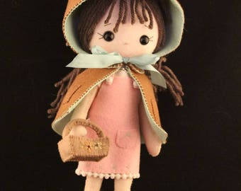 Felt doll Gingermelon with hood and cape