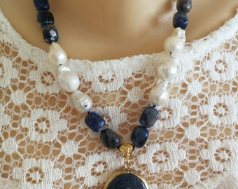 Blue sodalite necklace, white pearl necklace, choker necklace with Pendant