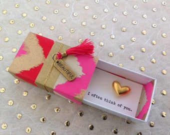 Often Think of You Message Box with fabric gift bag and gold heart token