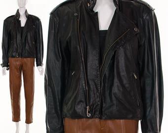 Black Leather Motorcycle Jacket / Moto Biker moto jacket authentic vintage / 70s 80s punk grunge /Unisex Medium Large