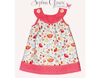 Baby Girl's Spring/Summer Jumper Dress, Girl's Pinafore Dress, Baby Girl Dress, Designer Cotton Dress, Easter Dress
