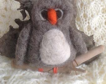 Owl, ornament, needle felted