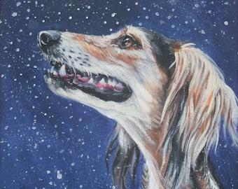 saluki dog art CANVAS print of LA Shepard painting 12x12 dog portrait