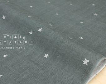 Japanese Fabric - Kobayashi starry double gauze -  grey, metallic silver - 50cm
