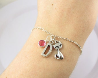 Personalized Cat Bracelet- choose a birthstone and initial, Cat Jewelry, Cat Gift, Personalized Cat, Siamese Cat Bracelet, Cat Charm, Cat