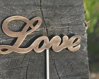 Love Wedding Cake topper Wood cake topper