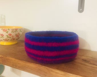 Royal Blue & Fuchsia Felted Bowl