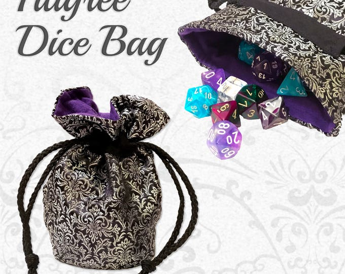 Filigree Tabletop Gaming Dice Bag // Role Playing Game // DND Dice Bag //