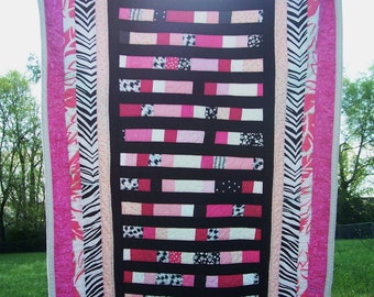 SALE Pink Zebra Print Patchwork Toddler or Baby Girl Quilt with Pink Black and White - Baby Quilt Blanket Toddler Quilt