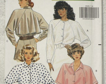 """Sz 12, 14, 16 Bust 34"""" - 38"""" Butterick Sewing Pattern 3029  Shirt Blouse with Raglan Sleeve and Collar Variations"""