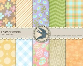 "Digital Scrapbook Paper Pack Instant Download - ""Easter Parade"" -10 12""x12"" Digital Papers for Easter, Spring, eggs, Scrapbooks,cards,crafts"