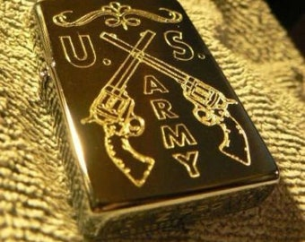 Rare One Of A Kind Custom Engraved U.S. Army Crossed Pistols Lighter