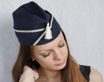 Forage-cap Uniform navy blue tassel hat Vintage Retro Pilotka hat Garrison cap Flight hat Aviator costume For men or women Military uniform