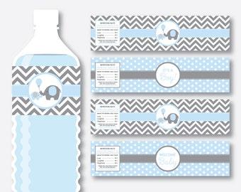 Instant Download, Elephant Water Bottle Labels, Elephant Water Bottle Wrappers, Elephant Labels, Elephant Printable, Little Peanut (SBS.35)