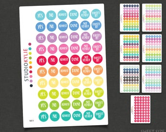 Yes, No... Circle Planner Stickers - Repositionable Matte Vinyl