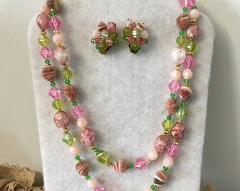 Vintage Western Germany Eye Candy in Pinks and Greens Necklace & Earrings Set, Demi Parure