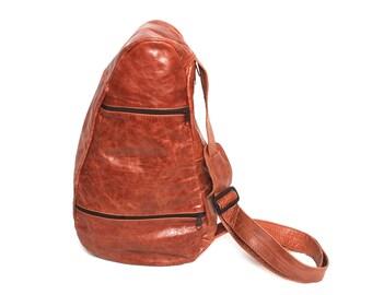 GRUNGE tan leather 80s 90s HOBO KNAPSACK triangle kidney backpack purse