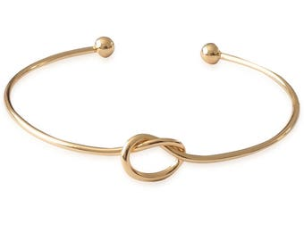 Women's bracelet knots-elegant minimal cuff ladies love bracelet in gold