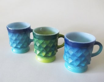 Fire King Anchor Hocking Kimberly Glass Mugs / Cups, Oven-Proof, Blue & Green Set of 3, USA 1960s