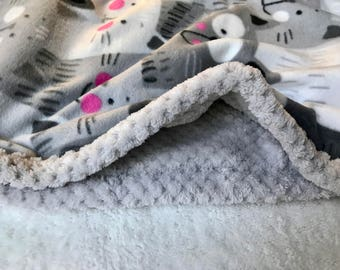 Gray and white baby blanket, fleece and faux fur, stroller blanket, crib blanket, lap blanket, toddler blanket, baby bedding, shower gift
