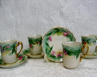 Victorian Antique Limoges Demitasse set of 4 Hand Painted Cups and Saucers