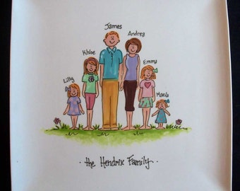 "Personalized 10.25"" Square Family Plate - great hostess gift or gift for mom or grandmother"